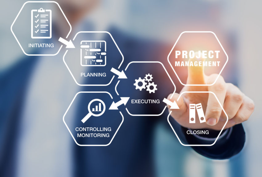 Presentation of project management processes such as initiating, planning, executing, monitoring and controlling, and closing with icons and a manager touching virtual screen